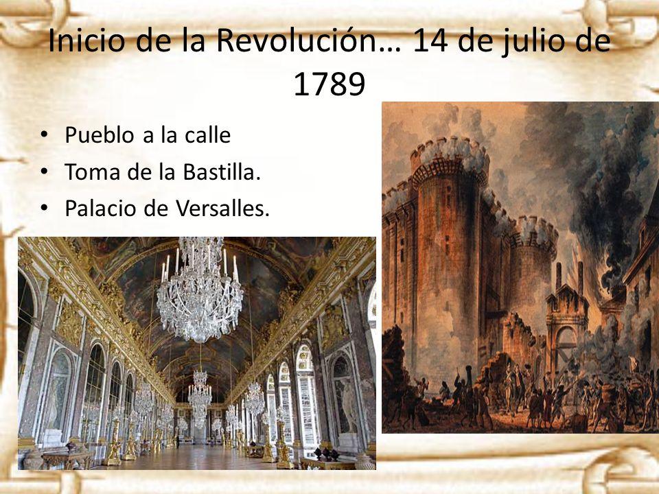 Inicio de la Revolución… 14 de julio de 1789 Pueblo a la calle Toma de la Bastilla. Palacio de Versalles.