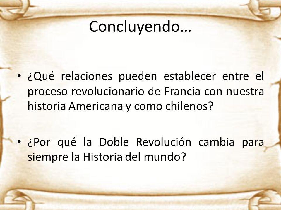 Concluyendo… ¿Qué relaciones pueden establecer entre el proceso revolucionario de Francia con nuestra historia Americana y como chilenos? ¿Por qué la