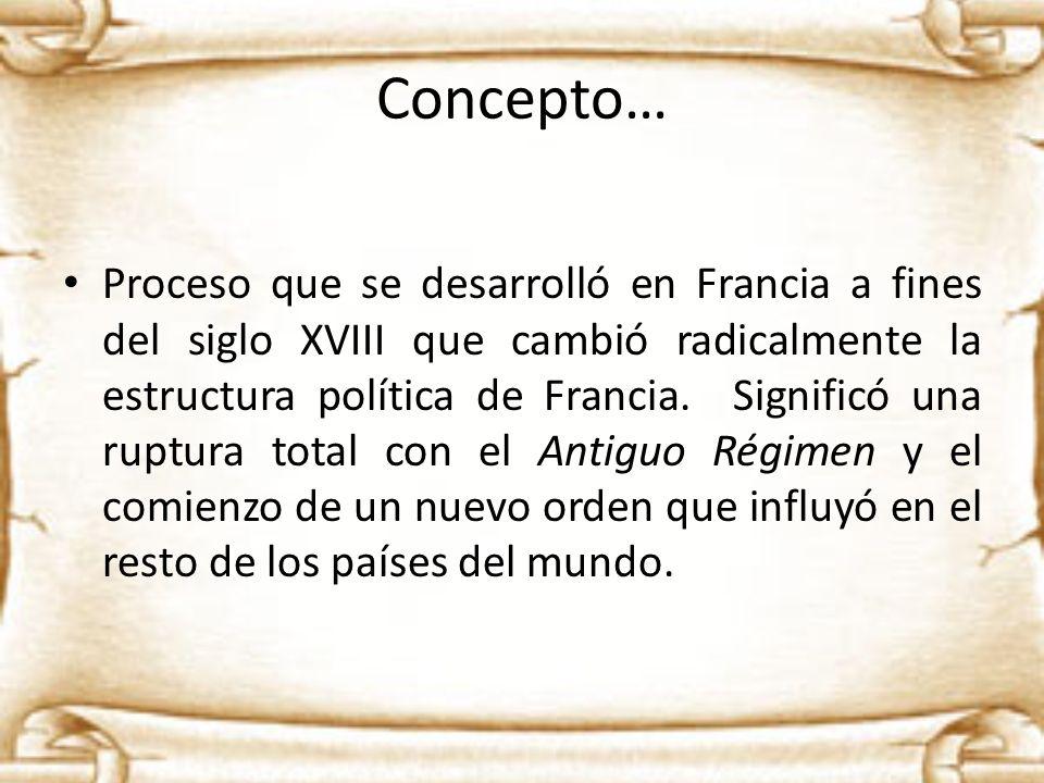 Concepto… Proceso que se desarrolló en Francia a fines del siglo XVIII que cambió radicalmente la estructura política de Francia. Significó una ruptur