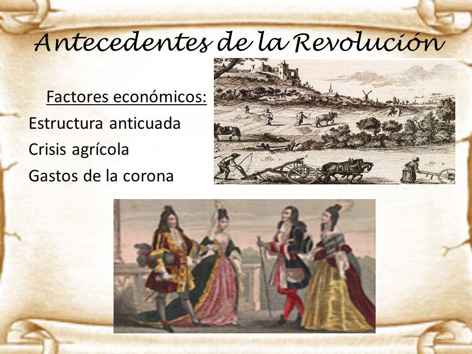 Antecedentes de la Revolución Factores económicos: Estructura anticuada Crisis agrícola Gastos de la corona