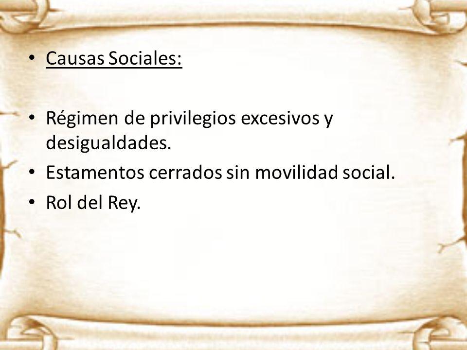Causas Sociales: Régimen de privilegios excesivos y desigualdades. Estamentos cerrados sin movilidad social. Rol del Rey.