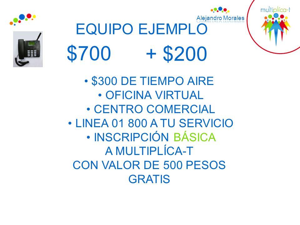 EQUIPO EJEMPLO $700 $300 DE TIEMPO AIRE OFICINA VIRTUAL CENTRO COMERCIAL LINEA 01 800 A TU SERVICIO INSCRIPCIÓN BÁSICA A MULTIPLÍCA-T CON VALOR DE 500 PESOS GRATIS + $200