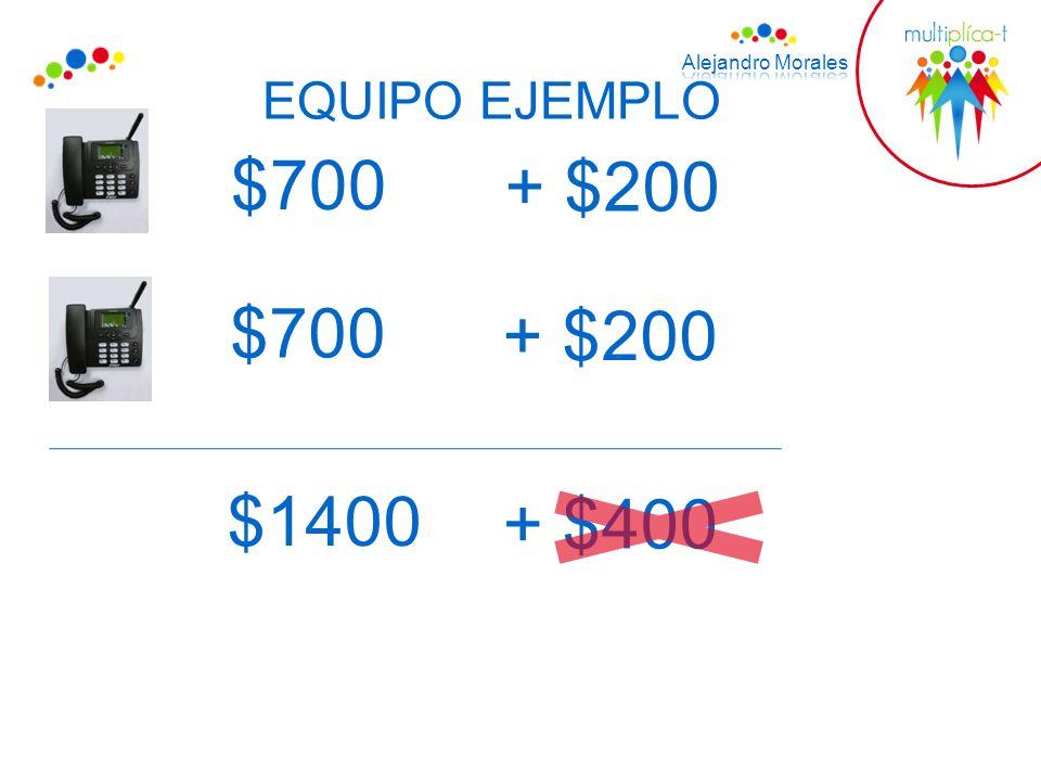 EQUIPO EJEMPLO $700 + $200 $700 + $200 $1400 + $400