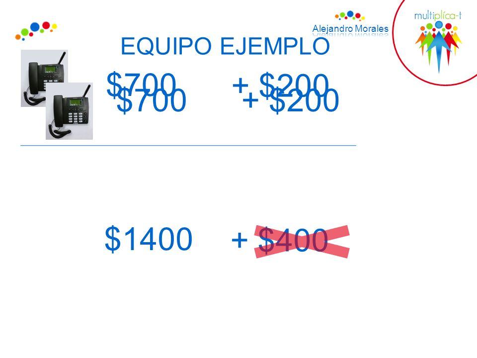 EQUIPO EJEMPLO $700 + $200 $700+ $200 $1400 + $400