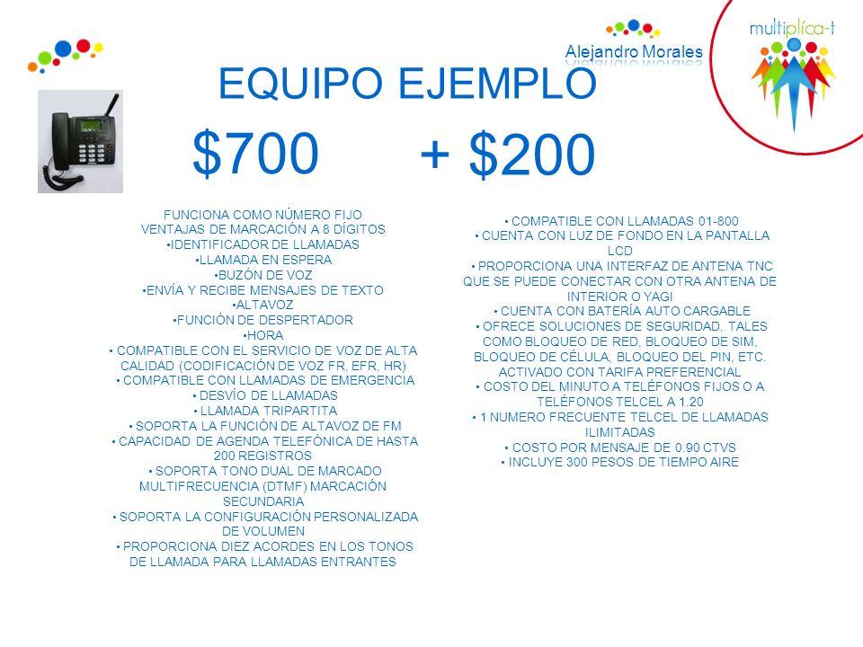 EQUIPO EJEMPLO $700 FUNCIONA COMO NÚMERO FIJO VENTAJAS DE MARCACIÓN A 8 DÍGITOS IDENTIFICADOR DE LLAMADAS LLAMADA EN ESPERA BUZÓN DE VOZ ENVÍA Y RECIB