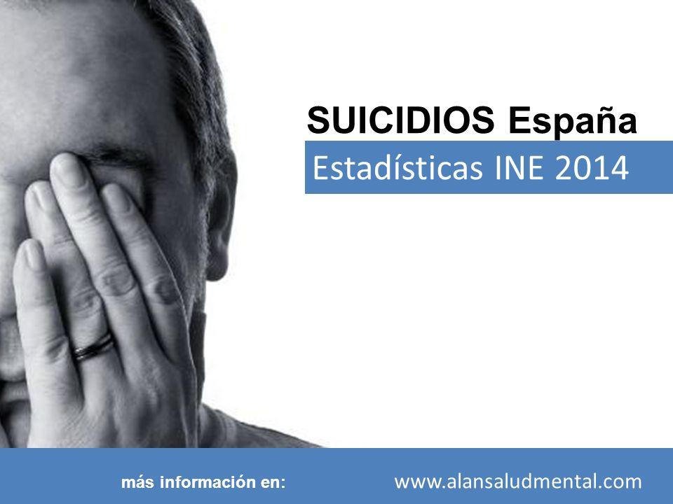 SUICIDIOS España Estadísticas INE 2014 más información en: www.alansaludmental.com