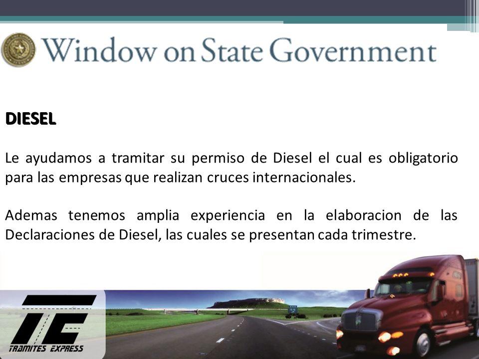 DIESEL Le ayudamos a tramitar su permiso de Diesel el cual es obligatorio para las empresas que realizan cruces internacionales. Ademas tenemos amplia