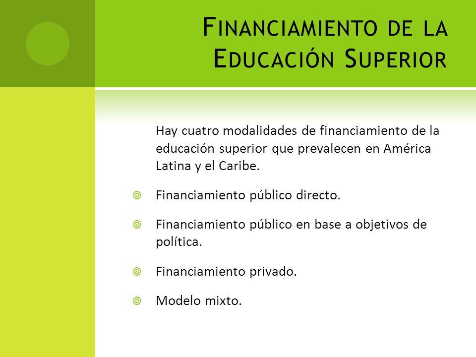 F INANCIAMIENTO DE LA E DUCACIÓN S UPERIOR Hay cuatro modalidades de financiamiento de la educación superior que prevalecen en América Latina y el Car
