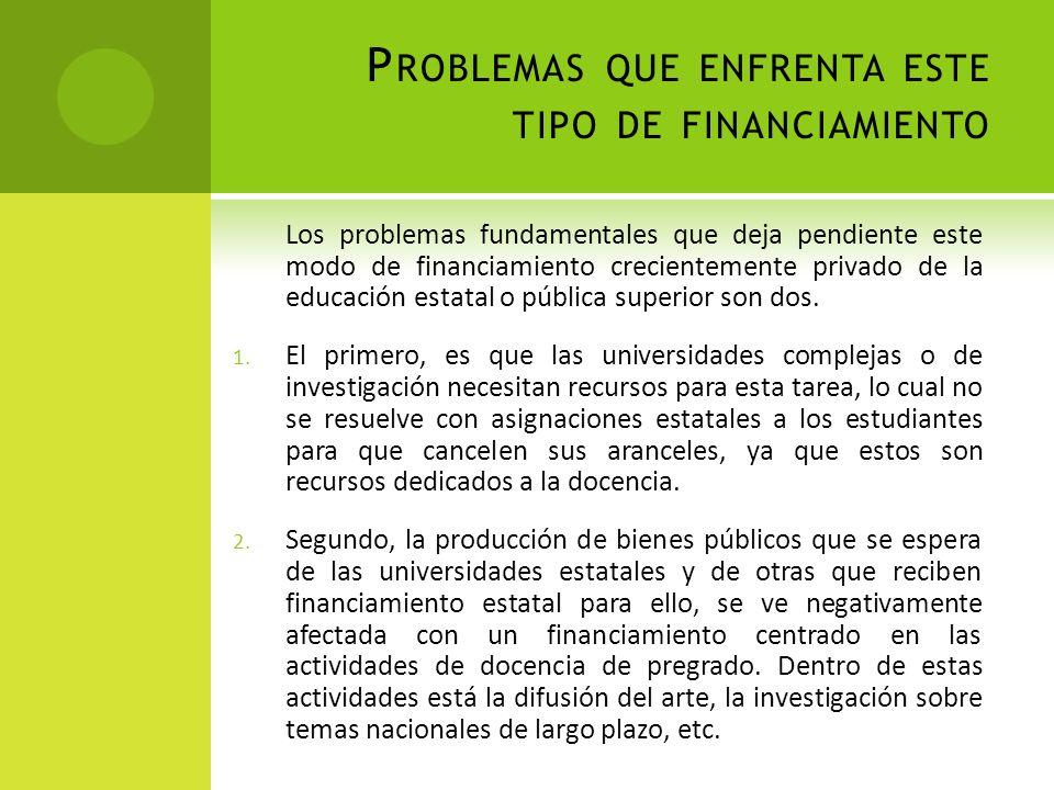 P ROBLEMAS QUE ENFRENTA ESTE TIPO DE FINANCIAMIENTO Los problemas fundamentales que deja pendiente este modo de financiamiento crecientemente privado