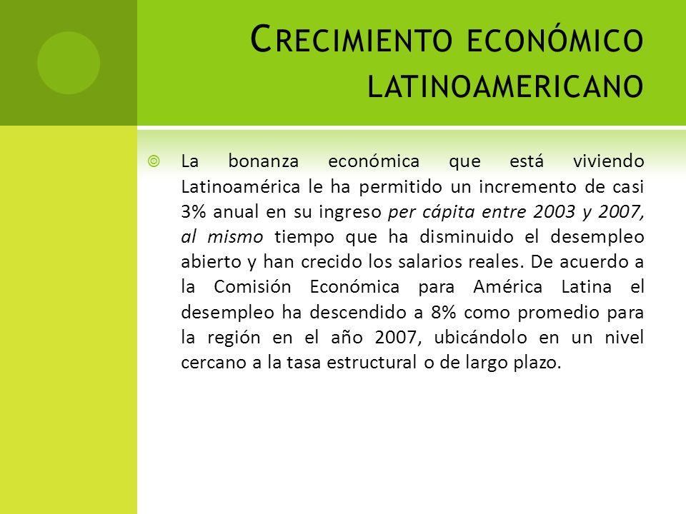 C RECIMIENTO ECONÓMICO LATINOAMERICANO La bonanza económica que está viviendo Latinoamérica le ha permitido un incremento de casi 3% anual en su ingre