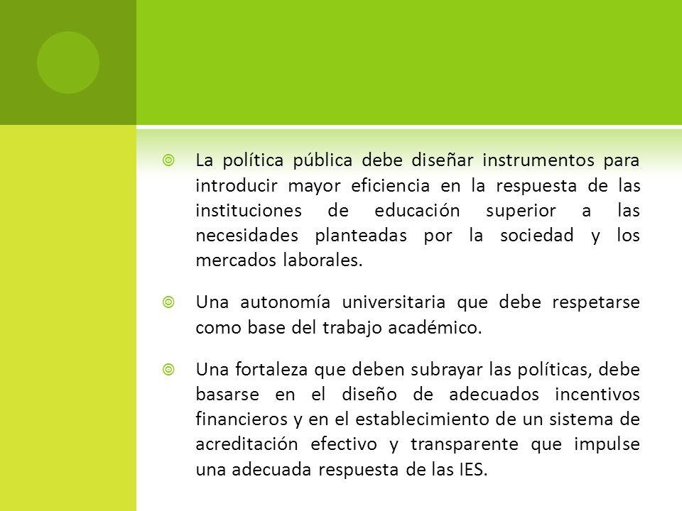 La política pública debe diseñar instrumentos para introducir mayor eficiencia en la respuesta de las instituciones de educación superior a las necesi