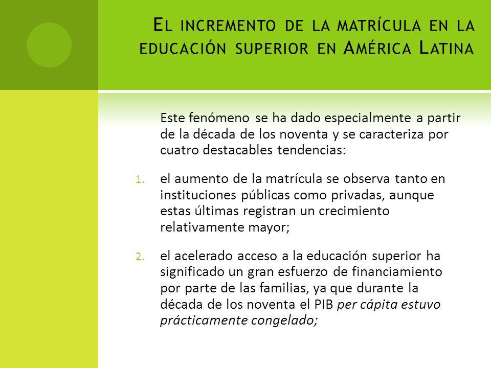 E L INCREMENTO DE LA MATRÍCULA EN LA EDUCACIÓN SUPERIOR EN A MÉRICA L ATINA Este fenómeno se ha dado especialmente a partir de la década de los novent