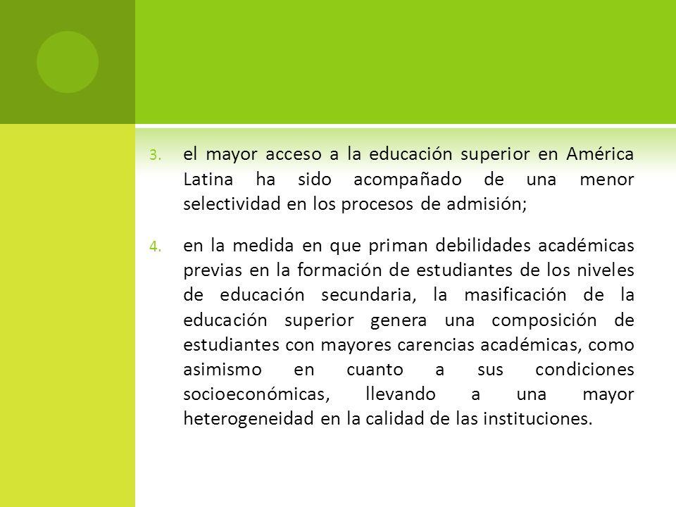 3. el mayor acceso a la educación superior en América Latina ha sido acompañado de una menor selectividad en los procesos de admisión; 4. en la medida