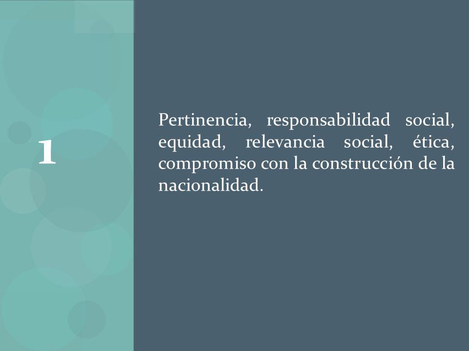 Pertinencia, responsabilidad social, equidad, relevancia social, ética, compromiso con la construcción de la nacionalidad. 1