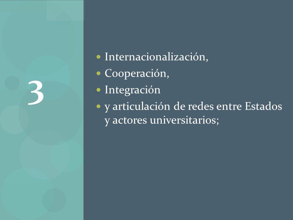 Internacionalización, Cooperación, Integración y articulación de redes entre Estados y actores universitarios; 3