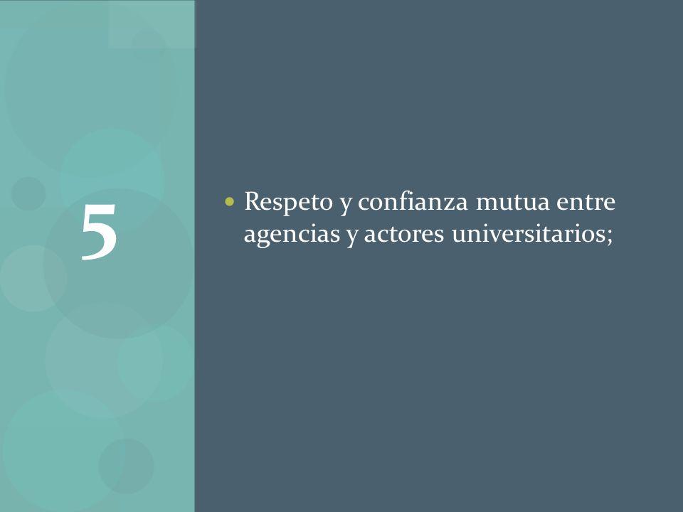 Respeto y confianza mutua entre agencias y actores universitarios; 5