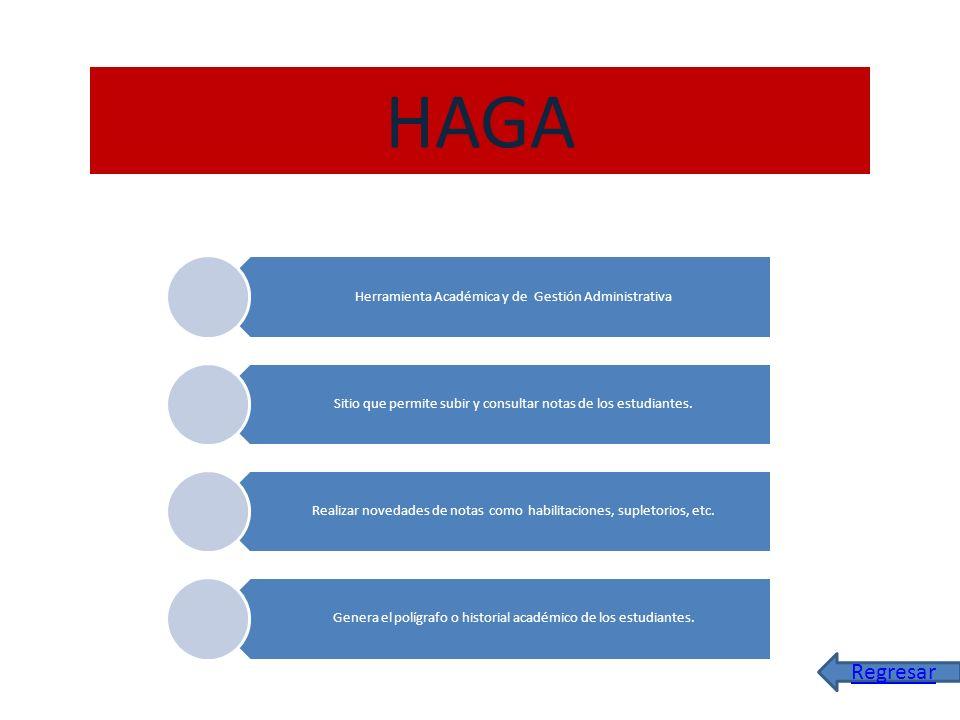 HAGA Herramienta Académica y de Gestión Administrativa Sitio que permite subir y consultar notas de los estudiantes. Realizar novedades de notas como