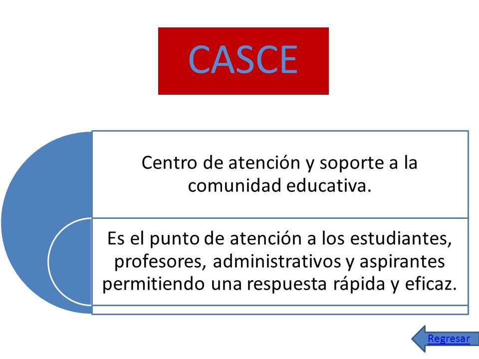 CASCE Centro de atención y soporte a la comunidad educativa. Es el punto de atención a los estudiantes, profesores, administrativos y aspirantes permi