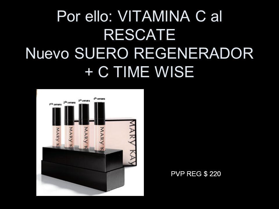 Por ello: VITAMINA C al RESCATE Nuevo SUERO REGENERADOR + C TIME WISE PVP REG $ 220