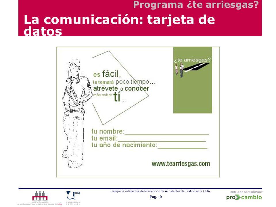 con la colaboración de: Campaña interactiva de Prevención de Accidentes de Tráfico en la UMA Pág. 10 La comunicación: tarjeta de datos Programa ¿te ar