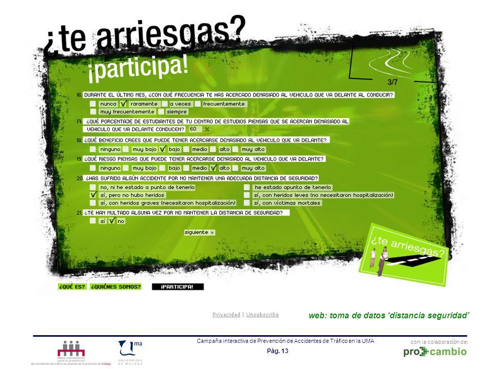 con la colaboración de: Campaña interactiva de Prevención de Accidentes de Tráfico en la UMA Pág. 13 web: toma de datos distancia seguridad