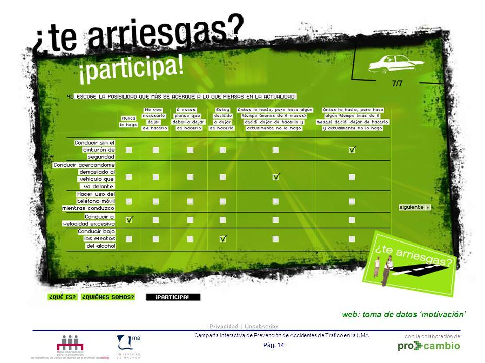 con la colaboración de: Campaña interactiva de Prevención de Accidentes de Tráfico en la UMA Pág. 14 web: toma de datos motivación