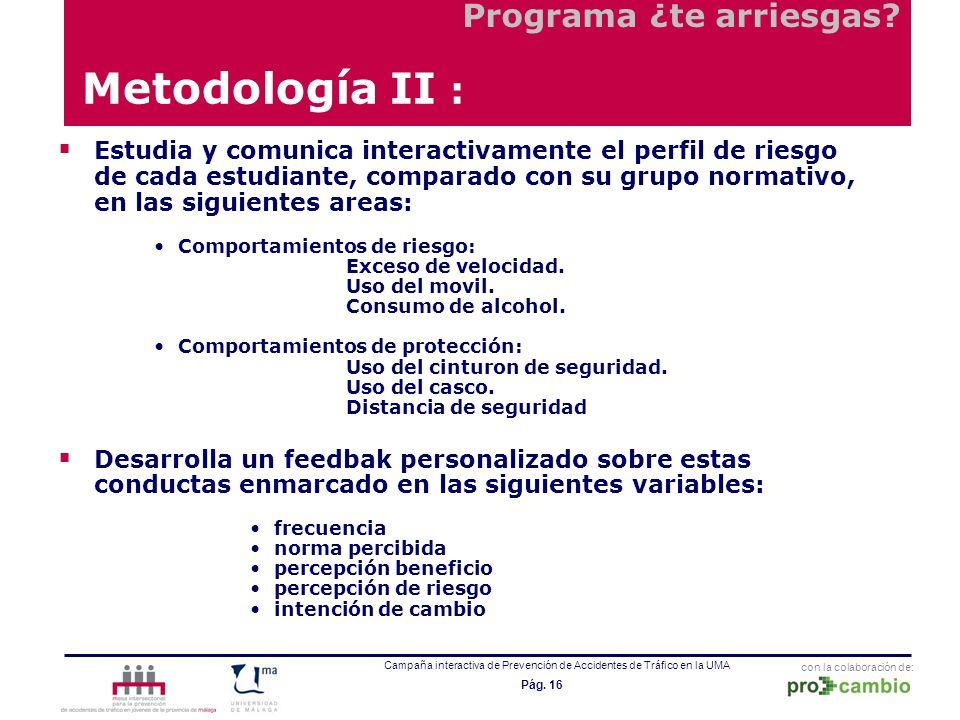 con la colaboración de: Campaña interactiva de Prevención de Accidentes de Tráfico en la UMA Pág. 16 Estudia y comunica interactivamente el perfil de