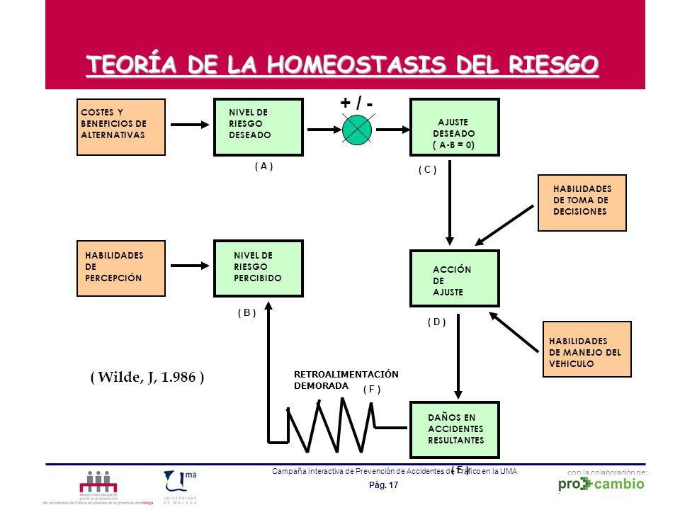 con la colaboración de: Campaña interactiva de Prevención de Accidentes de Tráfico en la UMA Pág. 17 TEORÍA DE LA HOMEOSTASIS DEL RIESGO COSTES Y BENE