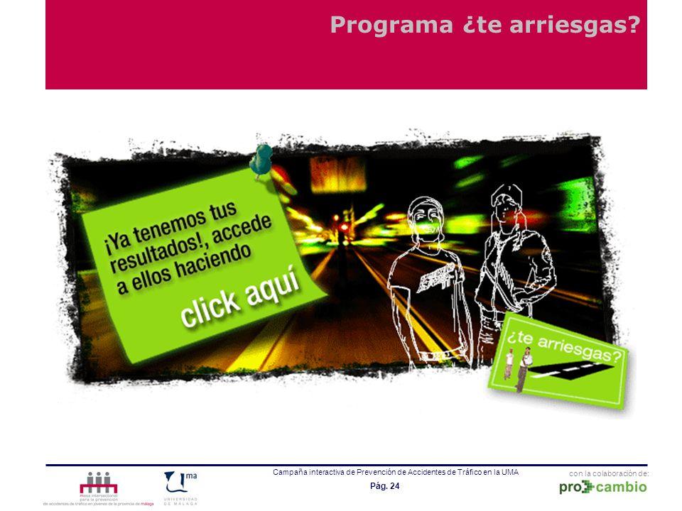 con la colaboración de: Campaña interactiva de Prevención de Accidentes de Tráfico en la UMA Pág. 24 Programa ¿te arriesgas?