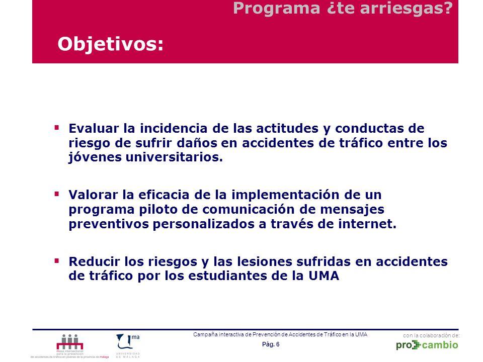 con la colaboración de: Campaña interactiva de Prevención de Accidentes de Tráfico en la UMA Pág. 6 Objetivos: Evaluar la incidencia de las actitudes
