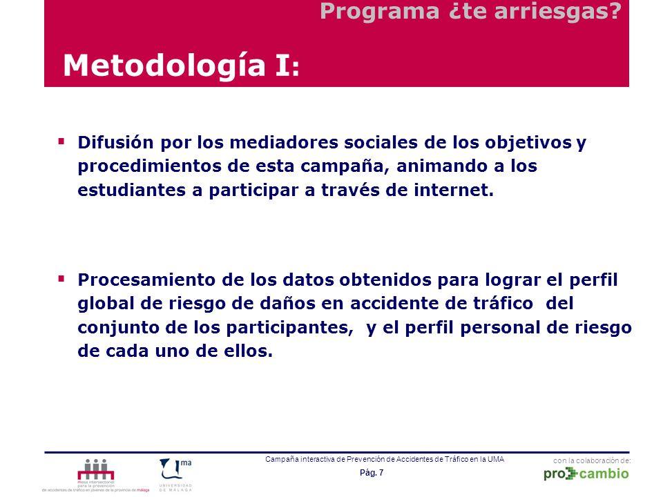 con la colaboración de: Campaña interactiva de Prevención de Accidentes de Tráfico en la UMA Pág. 7 Metodología I : Difusión por los mediadores social