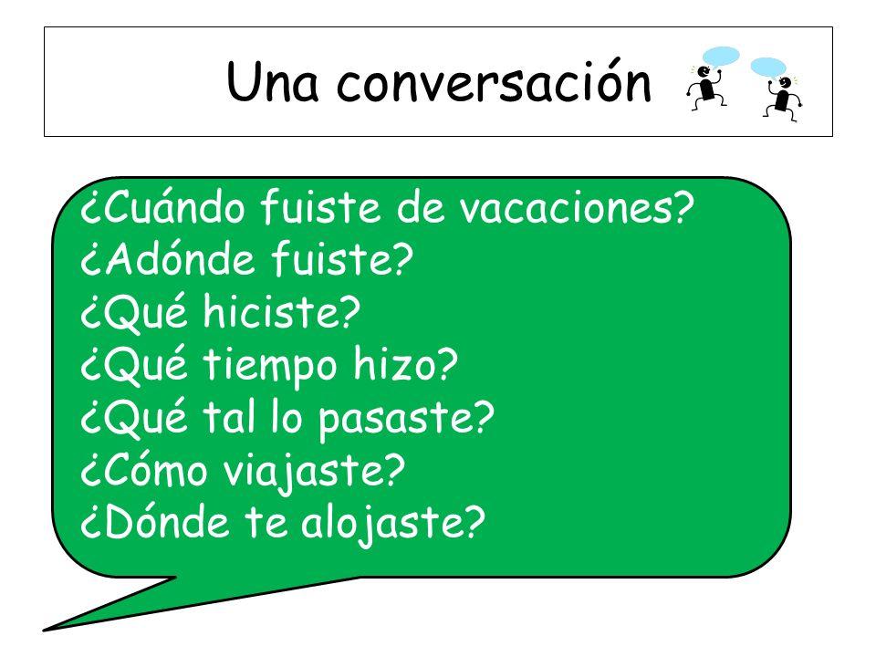 Una conversación ¿Cuándo fuiste de vacaciones. ¿Adónde fuiste.