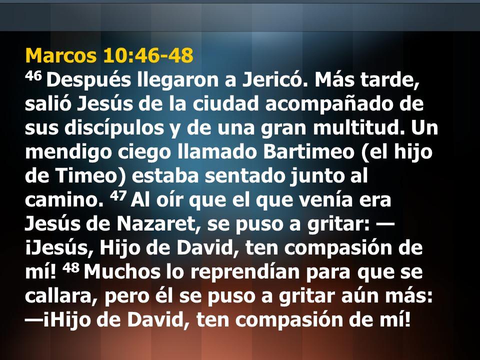 Los Resultados de la decisión de Bartimeo 1.Jesús le contesta a los que no se callan Marcos 10:49 Jesús se detuvo y dijo: Llámenlo.