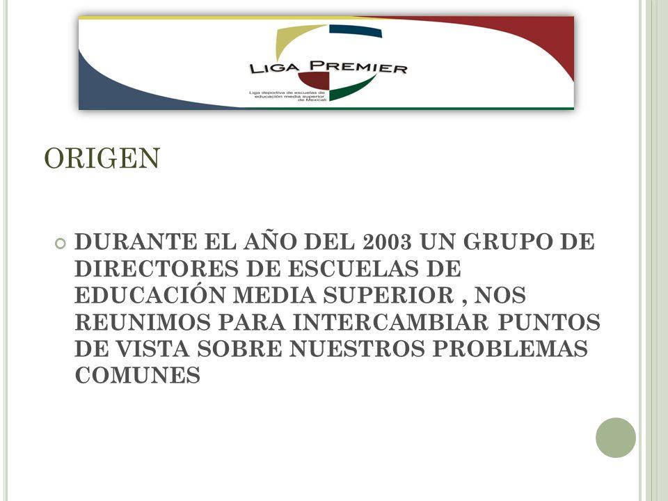 ORIGEN DURANTE EL AÑO DEL 2003 UN GRUPO DE DIRECTORES DE ESCUELAS DE EDUCACIÓN MEDIA SUPERIOR, NOS REUNIMOS PARA INTERCAMBIAR PUNTOS DE VISTA SOBRE NUESTROS PROBLEMAS COMUNES