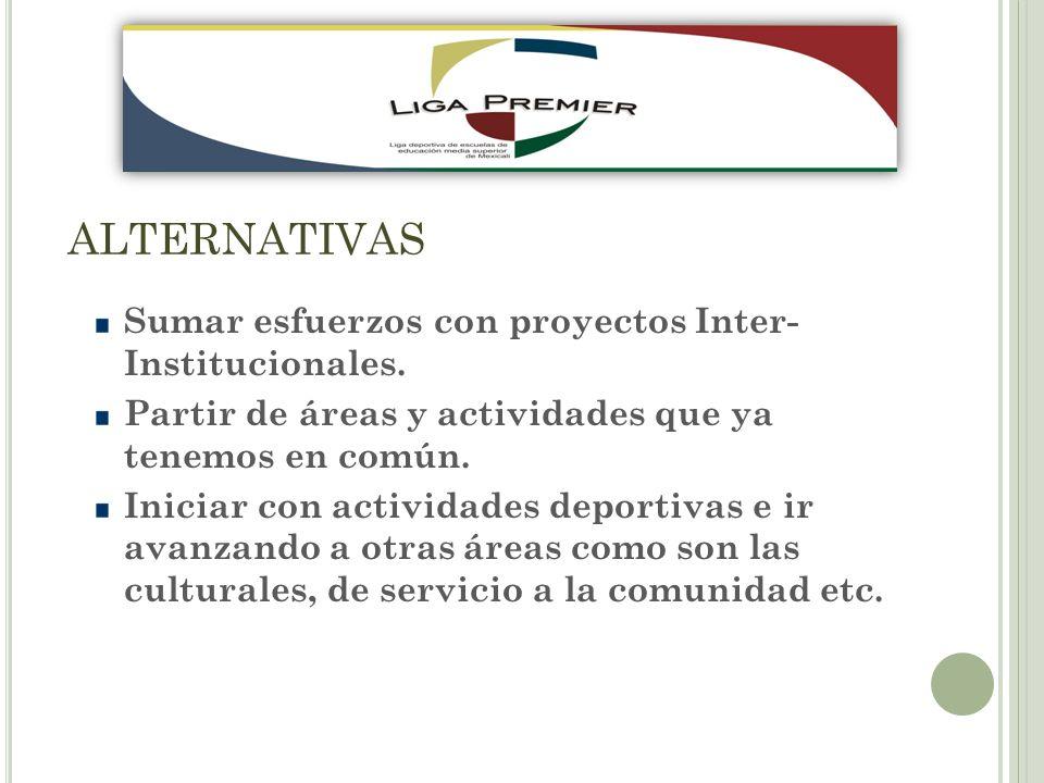 ALTERNATIVAS Sumar esfuerzos con proyectos Inter- Institucionales.