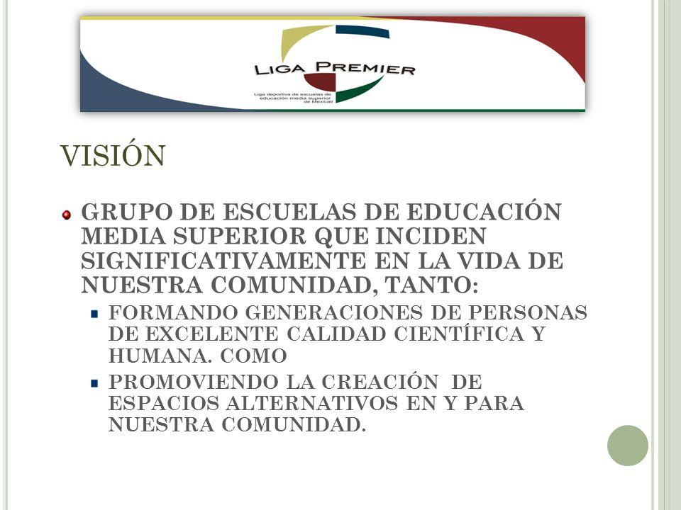 VISIÓN GRUPO DE ESCUELAS DE EDUCACIÓN MEDIA SUPERIOR QUE INCIDEN SIGNIFICATIVAMENTE EN LA VIDA DE NUESTRA COMUNIDAD, TANTO: FORMANDO GENERACIONES DE PERSONAS DE EXCELENTE CALIDAD CIENTÍFICA Y HUMANA.
