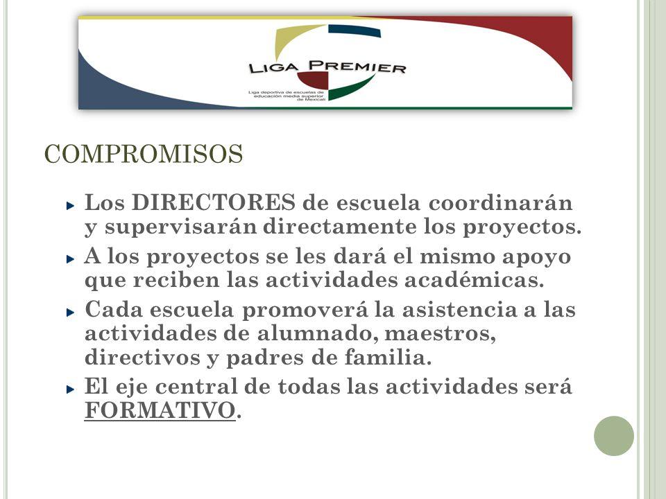 COMPROMISOS Los DIRECTORES de escuela coordinarán y supervisarán directamente los proyectos.