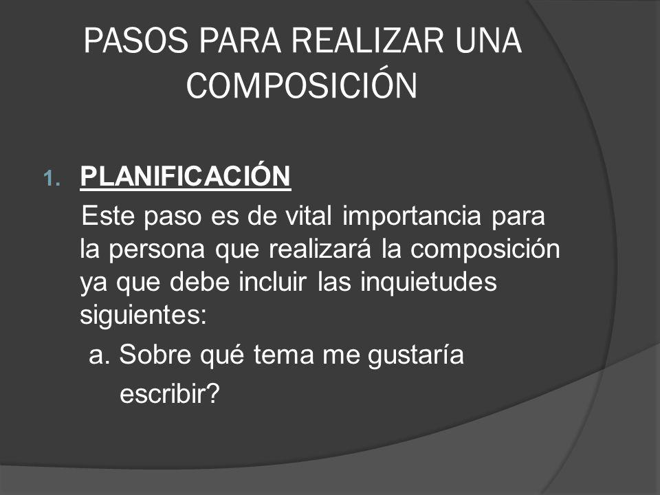 PASOS PARA REALIZAR UNA COMPOSICIÓN 1. PLANIFICACIÓN Este paso es de vital importancia para la persona que realizará la composición ya que debe inclui