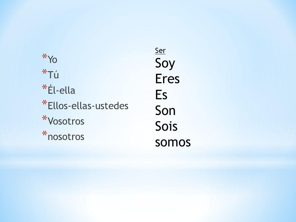 * Yo * Tú * Él-ella * Ellos-ellas-ustedes * Vosotros * nosotros Ser Soy Eres Es Son Sois somos