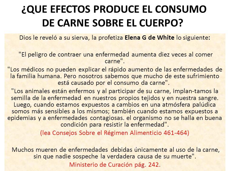 ¿QUE EFECTOS PRODUCE EL CONSUMO DE CARNE SOBRE EL CUERPO.