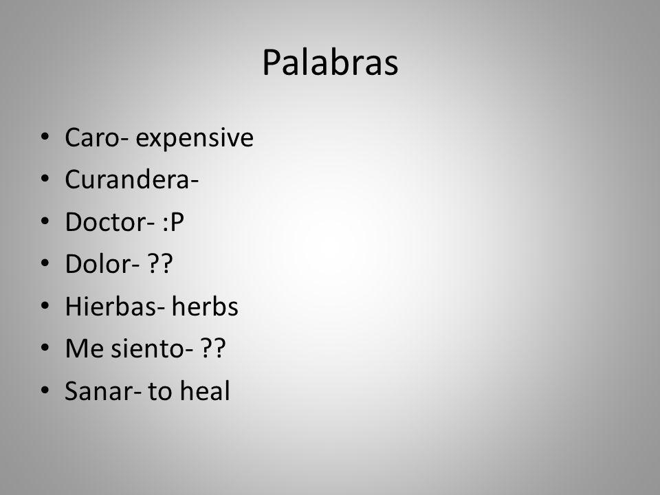 Palabras Caro- expensive Curandera- Doctor- :P Dolor- .