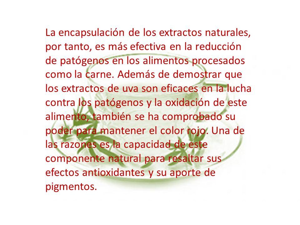 La encapsulación de los extractos naturales, por tanto, es más efectiva en la reducción de patógenos en los alimentos procesados como la carne. Además