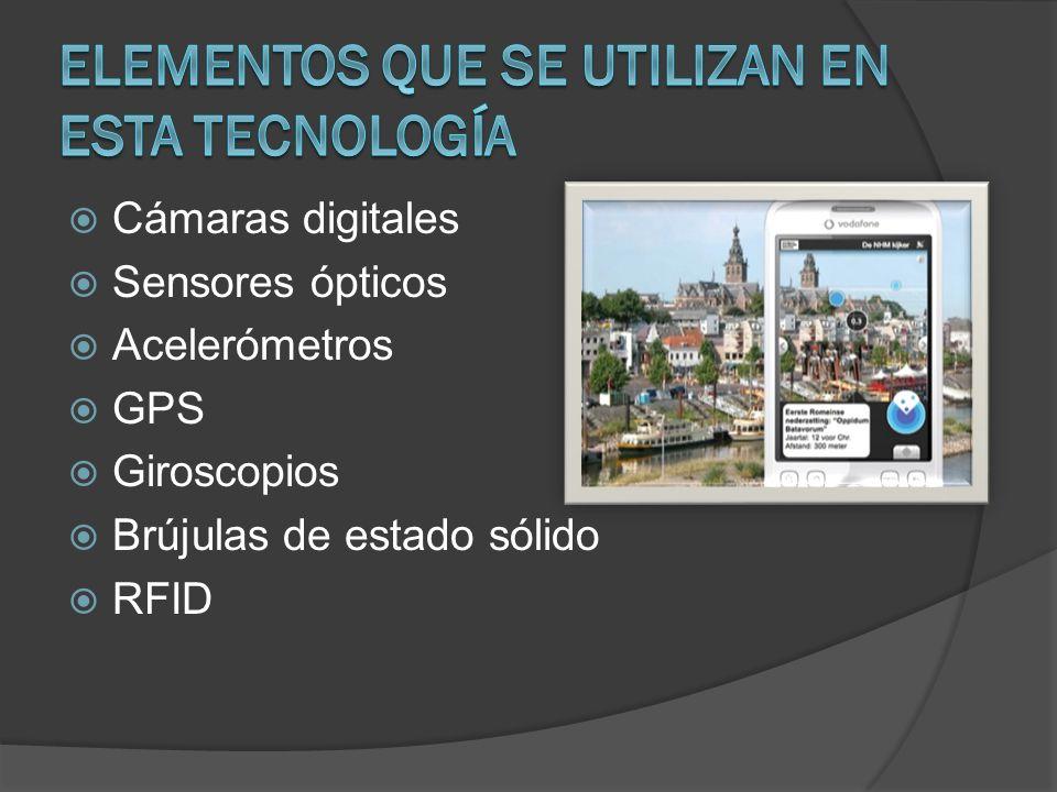Cámaras digitales Sensores ópticos Acelerómetros GPS Giroscopios Brújulas de estado sólido RFID