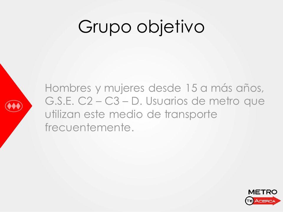 Grupo objetivo Hombres y mujeres desde 15 a más años, G.S.E. C2 – C3 – D. Usuarios de metro que utilizan este medio de transporte frecuentemente.