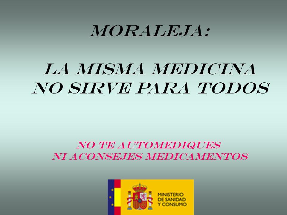 MORALEJA: LA MISMA MEDICINA NO SIRVE PARA TODOS No te automediques Ni aconsejes medicamentos