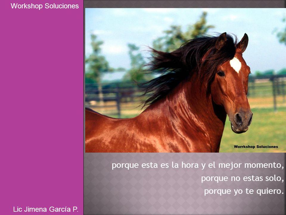 porque esta es la hora y el mejor momento, porque no estas solo, porque yo te quiero. Workshop Soluciones Lic Jimena García P.