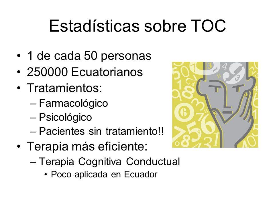 Estadísticas sobre TOC 1 de cada 50 personas 250000 Ecuatorianos Tratamientos: –Farmacológico –Psicológico –Pacientes sin tratamiento!! Terapia más ef