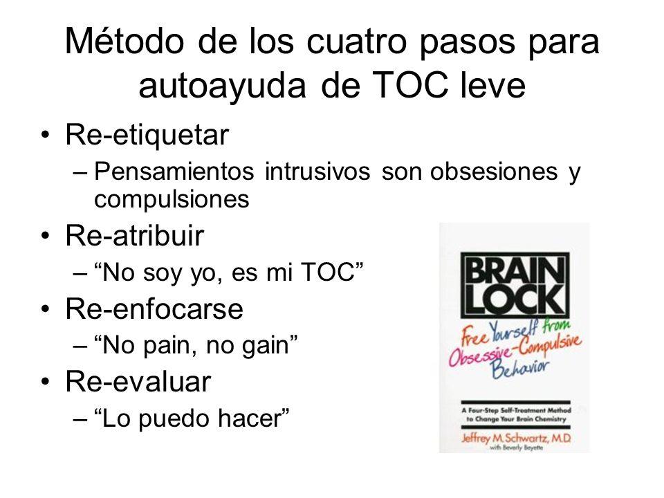 Método de los cuatro pasos para autoayuda de TOC leve Re-etiquetar –Pensamientos intrusivos son obsesiones y compulsiones Re-atribuir –No soy yo, es m