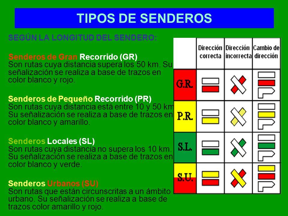 TIPOS DE SENDEROS SEGÚN LA LONGITUD DEL SENDERO: Senderos de Gran Recorrido (GR) Son rutas cuya distancia supera los 50 km. Su señalización se realiza