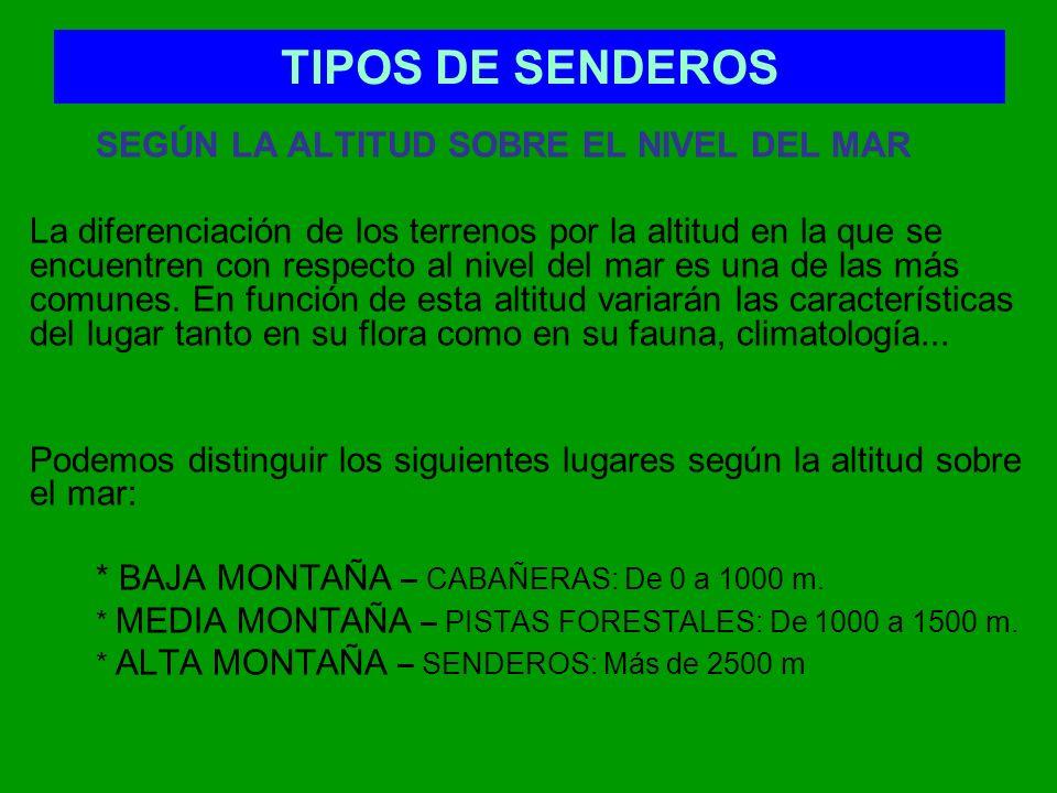TIPOS DE SENDEROS SEGÚN EL DESNIVEL Se propone un escalonamiento de 300 en 300 metros, estableciéndose los siguientes intervalos: 0.